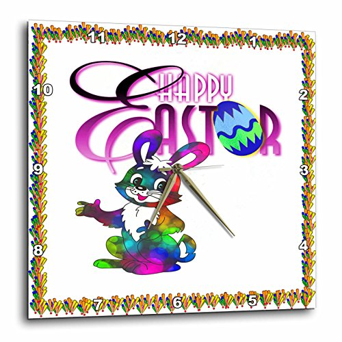Happy Easter with Neon Bunny Wall Clock