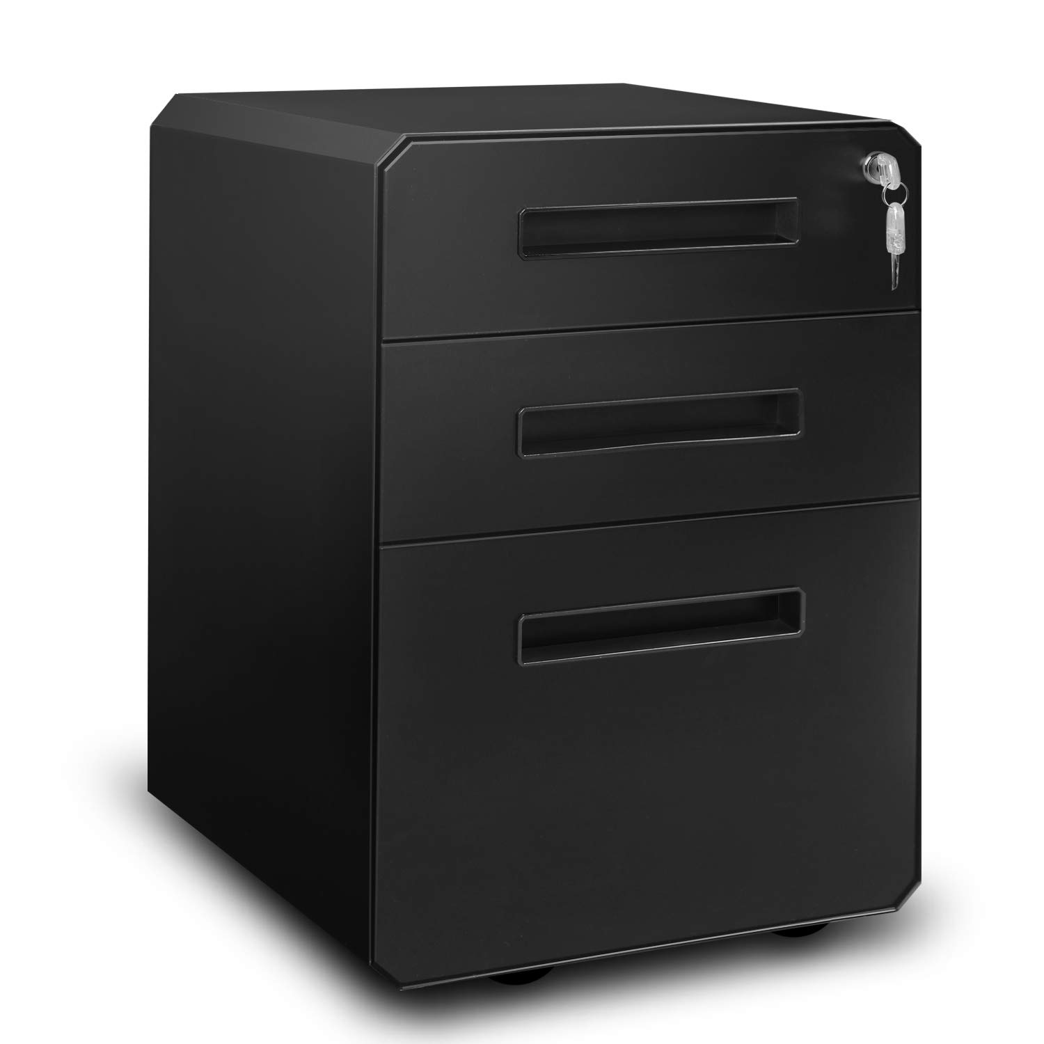 M&W 3 Drawer Mobile File Cabinet, Metal Locking Letter Filing Cabinet by M/W M & W