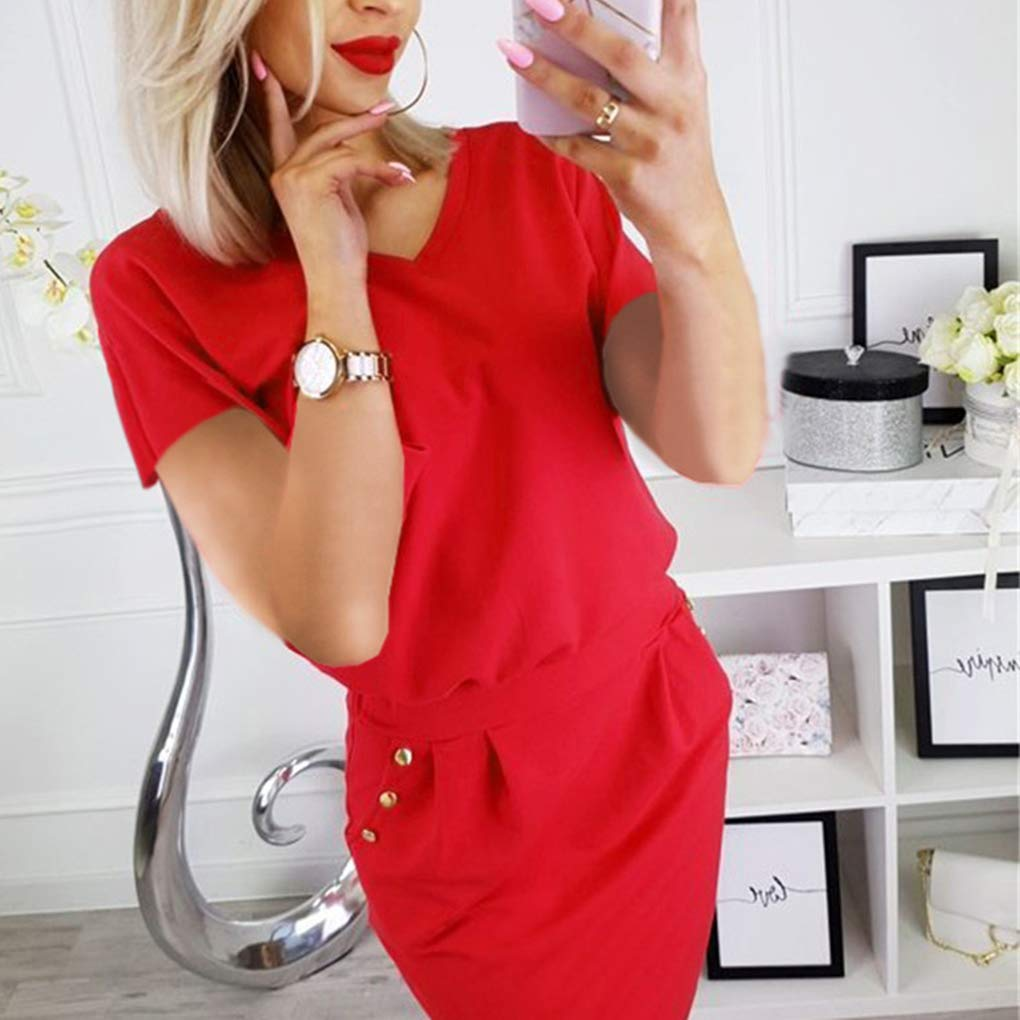 AUWU Women Summer Pure Color V-Neck Buttons Hip Wrapped Short Sleeves Mini Dress