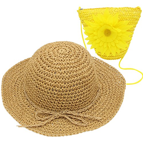 Price comparison product image YOPINDO Hat Purse Set Straw Sun Hat Foldable Beach Cap with Bag for 2-7 Years Girl (Yellow)
