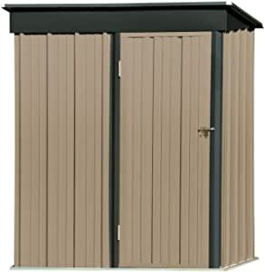 5' x 3' Outdoor Metal Storage Shed, Utility Steel Tool Storage House with Lockable Door & Inclined Roof, for Backyard Garden Patio Lawn