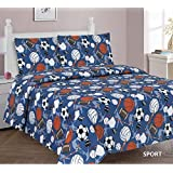 Elegant Home Multicolor Sports Basketball Football Baseball Soccer Volleyball Hockey Design 3 Piece Printed Twin Sheet Set with Pillowcase Flat Fitted Sheet for Boys / Kids/ Teens # Sports (Twin)