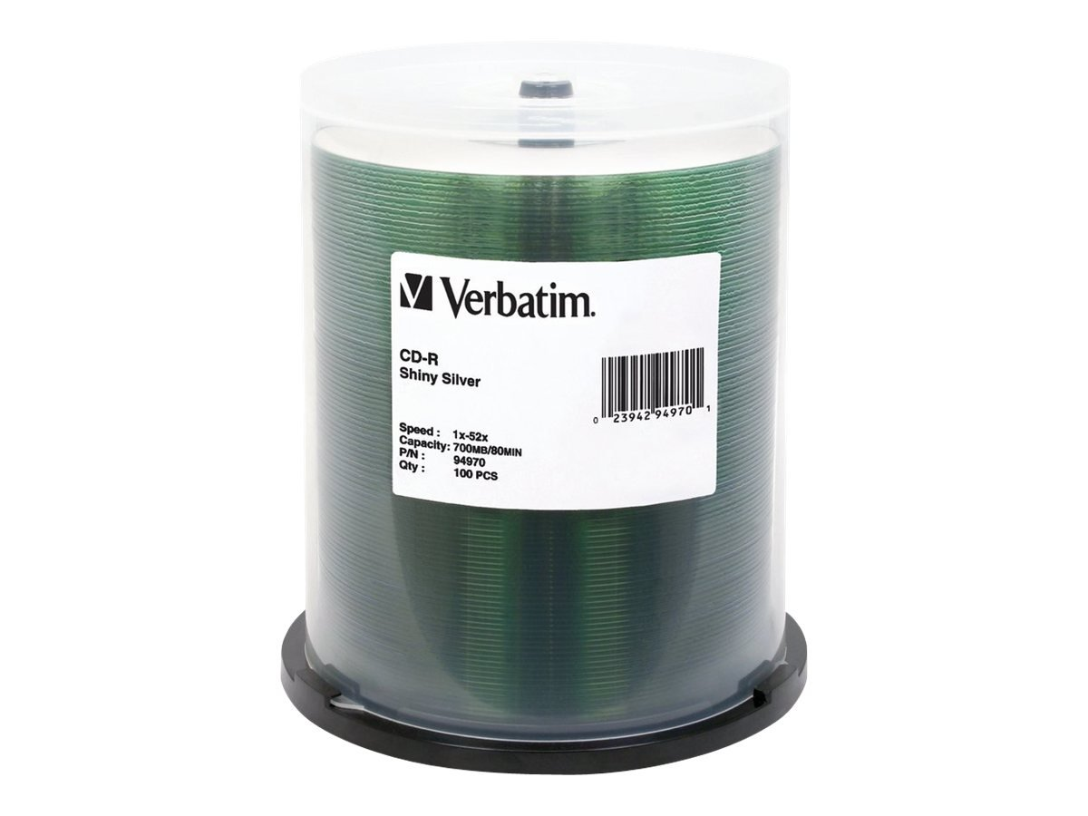 Verbatim 700MB 80MIN 52X Shiny Silver CD-R,100-Disc Spindle 94970