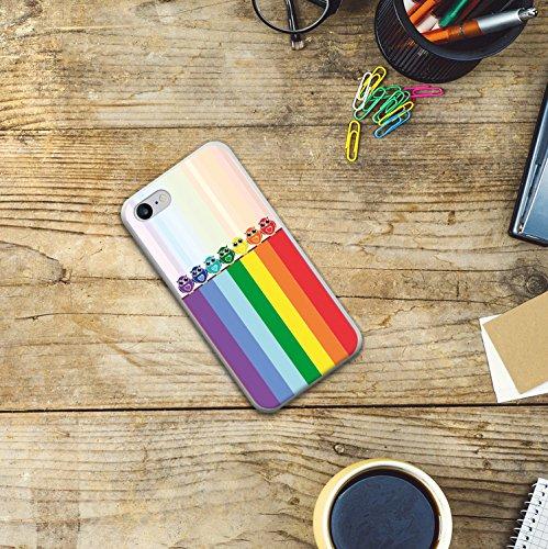 iPhone 8 Hülle, WoowCase Handyhülle Silikon für [ iPhone 8 ] Regenbogen Eule Handytasche Handy Cover Case Schutzhülle Flexible TPU - Transparent