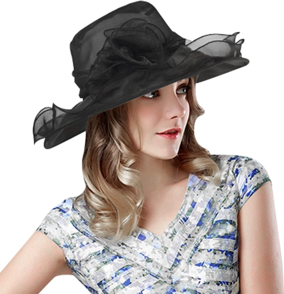Lovful Kentucky Derby Hat Side Flower Décor Cocktail Tea Party Headdress for Woman, Black
