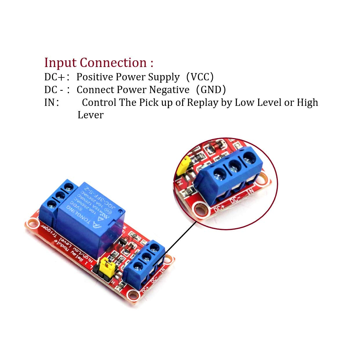 Dafurui 8Pcs DC 5V 1 Channel Relay Module Board Shield with Optocoupler Support High//Low Level Trigger