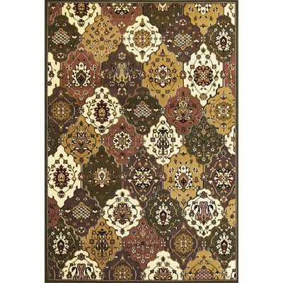 Kas Rugs 7353 Cambridge Panel Area Rug, 20 by 31-Inch, Green/Plum