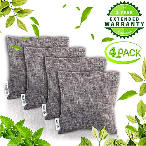 Feader Air Purifier Bag Bamboo Charcoal Bag Charcoal Air Purifying Activated Bags Dry Activated Charcoal Odor Absorber Captures and Eliminates Odors (4 Pack) (Best Way To Eliminate Odors)