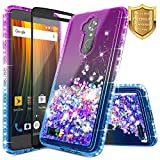 NageBee Glitter Liquid Quicksand Floating Flowing Shiny Sparkle Bling Cute Case w/ [Full Cover Tempered Glass Screen Protector] For ZTE Blade Max 3, ZTE MAX XL (N9560), ZTE Bolton (Purple/Blue)