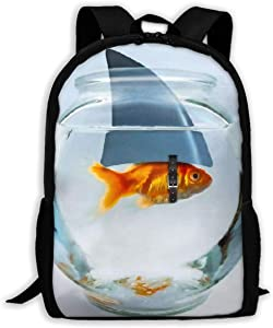 SARA NELL School Backpack Golden Fish With Shark's Horn In Fish Tank Bookbag Casual Travel Bag For Teen Boys Girls
