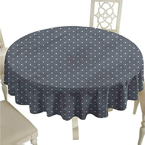 ScottDecor Fabric Tablecloth Japanese,Floral Checked Tile Table Cover Round Tablecloth D 54