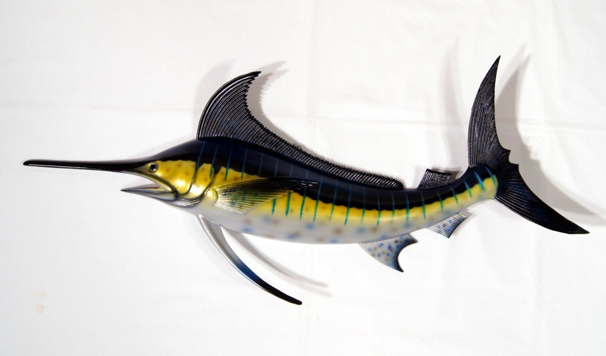 Hand Painted Jumbo Striped Blue Marlin Salt Walter Game Fish Wall Mount Decor Plaque 48''