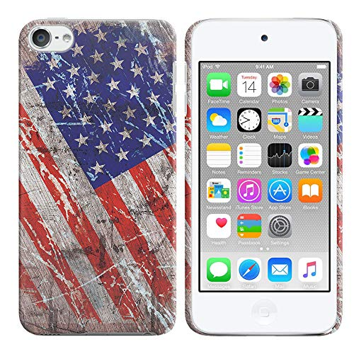 (FINCIBO Case Compatible with Apple iPod Touch 5 6th Generation, Back Cover Hard Plastic Protector Case Stylish Design for iPod Touch 5 6 - Wood Vintage American USA Flag)