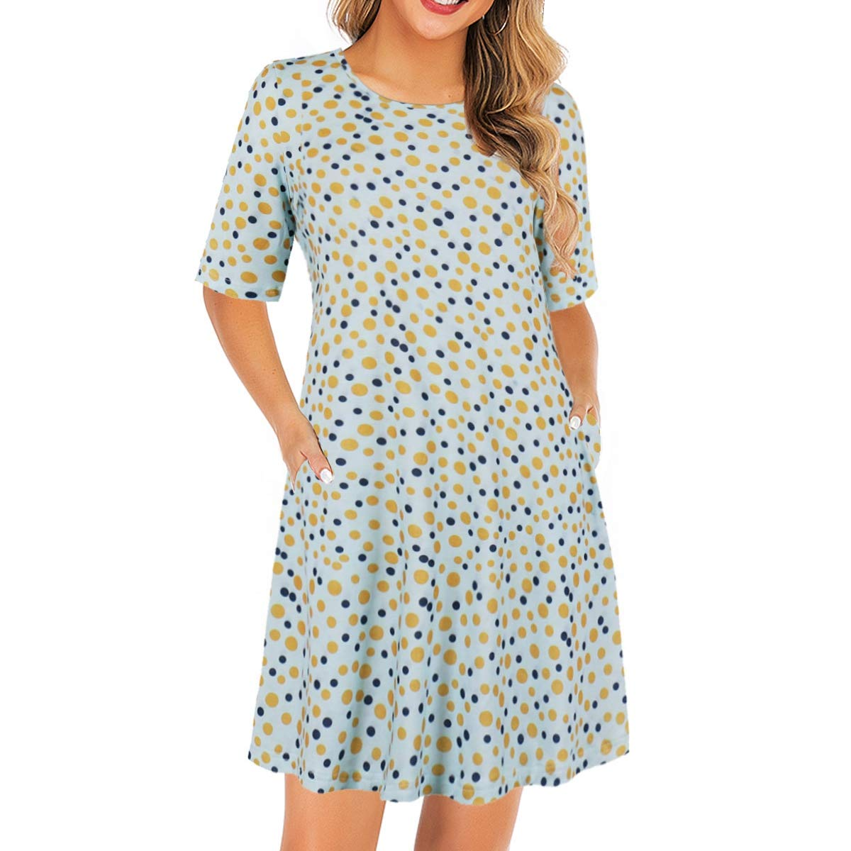 Wellwits Womens Half Sleeves Pattern Print T Shirt Swing Short Vintage Tunic Dress