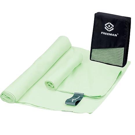 Freeman microfibra toalla de viaje 2 unidades con bolsa de malla, altamente absorbente ligero portátil