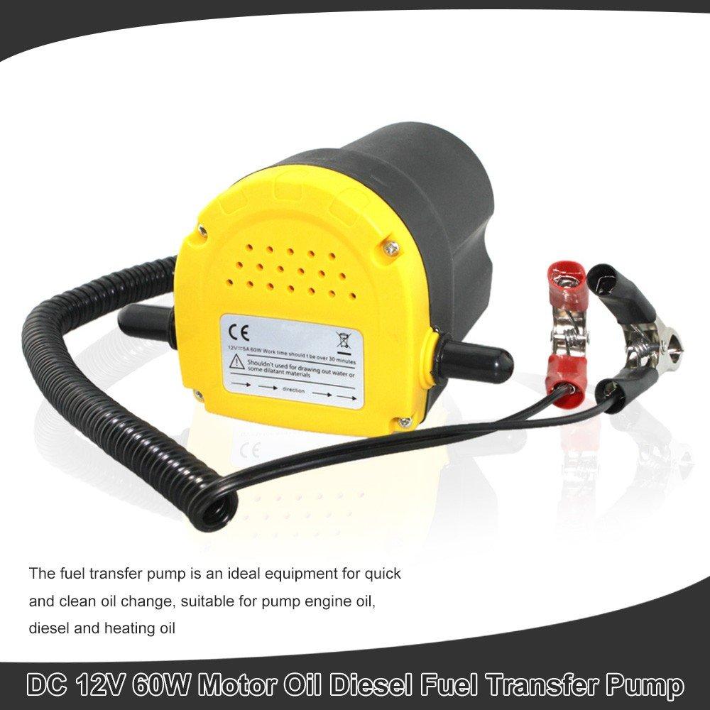 Veicoli ecc Qiilu DC 12V 60W Pompa di Travaso e Pompa Estrattrice Motore Gasolio per Pompa Aspirazione Olio Motore e Carburante Diesel del 250L//Ore per Auto Motore,Moto