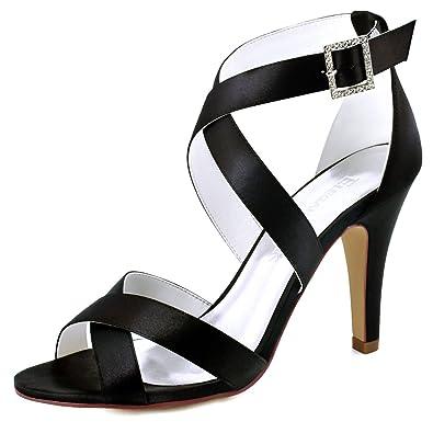 f814e3daaeb ElegantPark HP1705 Women High Heel Shoes Open Toe Cross Strap Satin Wedding  Dress Sandals Black US