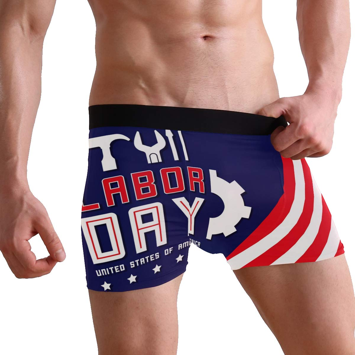 Jojogood Mens American Labor Day Background Breathable Boxer Soft Briefs Classic Underwear Shorts