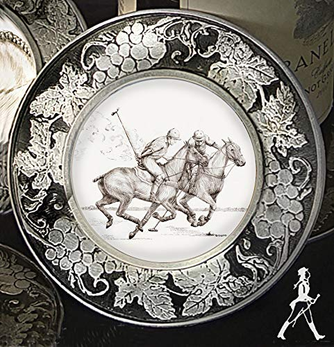 Horse Lady Gifts, Polo Players horse coasters in grapevine patterned pewter frame, set of 4, 4 inch diameter