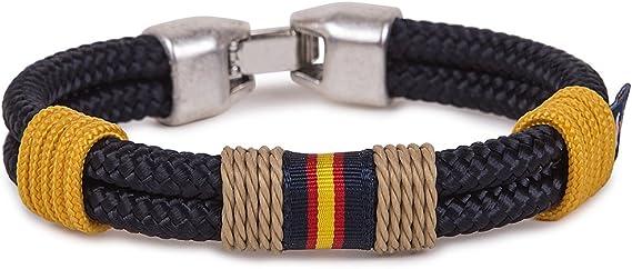 SoloGemelos - Pulsera Azul Cordón Náutico Con Bandera - Azul, Amarillo - Hombres - Talla Unica: SoloGemelos: Amazon.es: Ropa y accesorios