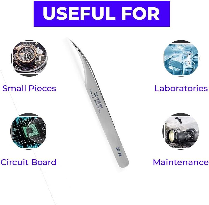 BAKU i5 Pinzette aus Edelstahl 304 antimagnetisch spitz silberfarben hohe H/ärte ergonomisch multifunktional langlebig hochwertig