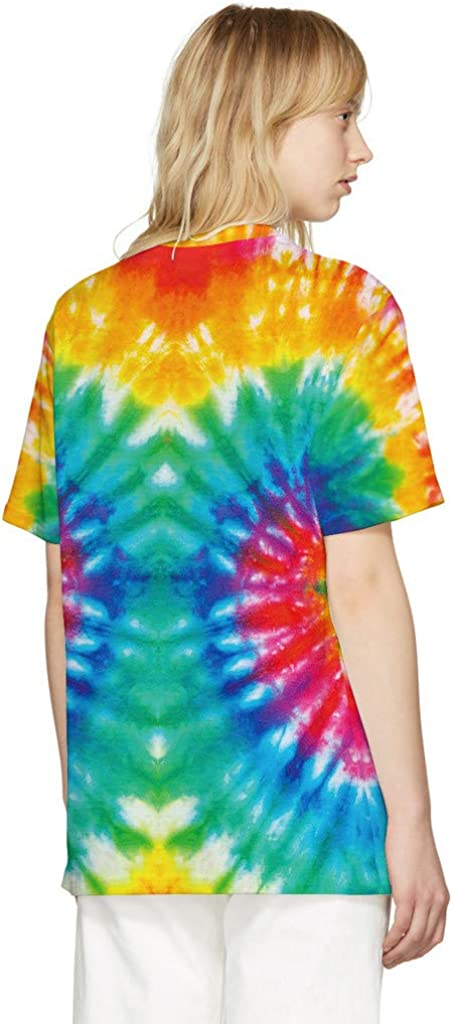Women Men Unisex Tie Dye Style T-Shirts,Summer Casual Short Sleeve Tees Multi Color Fun Patterns