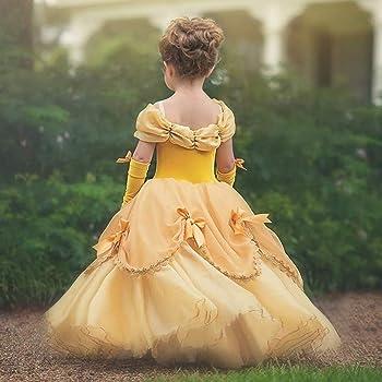 IWEMEK Niñas Bella y la Bestia Vestido de Carnaval Disfraz de ...
