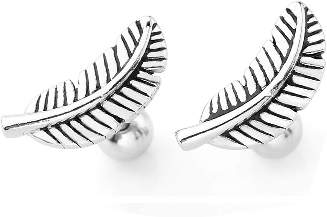 """Jovivi 2pc Stainless Steel Silver Gold Barbell Feather Cartilage Helix Stud Earrings 16 Gauge 5/16"""""""
