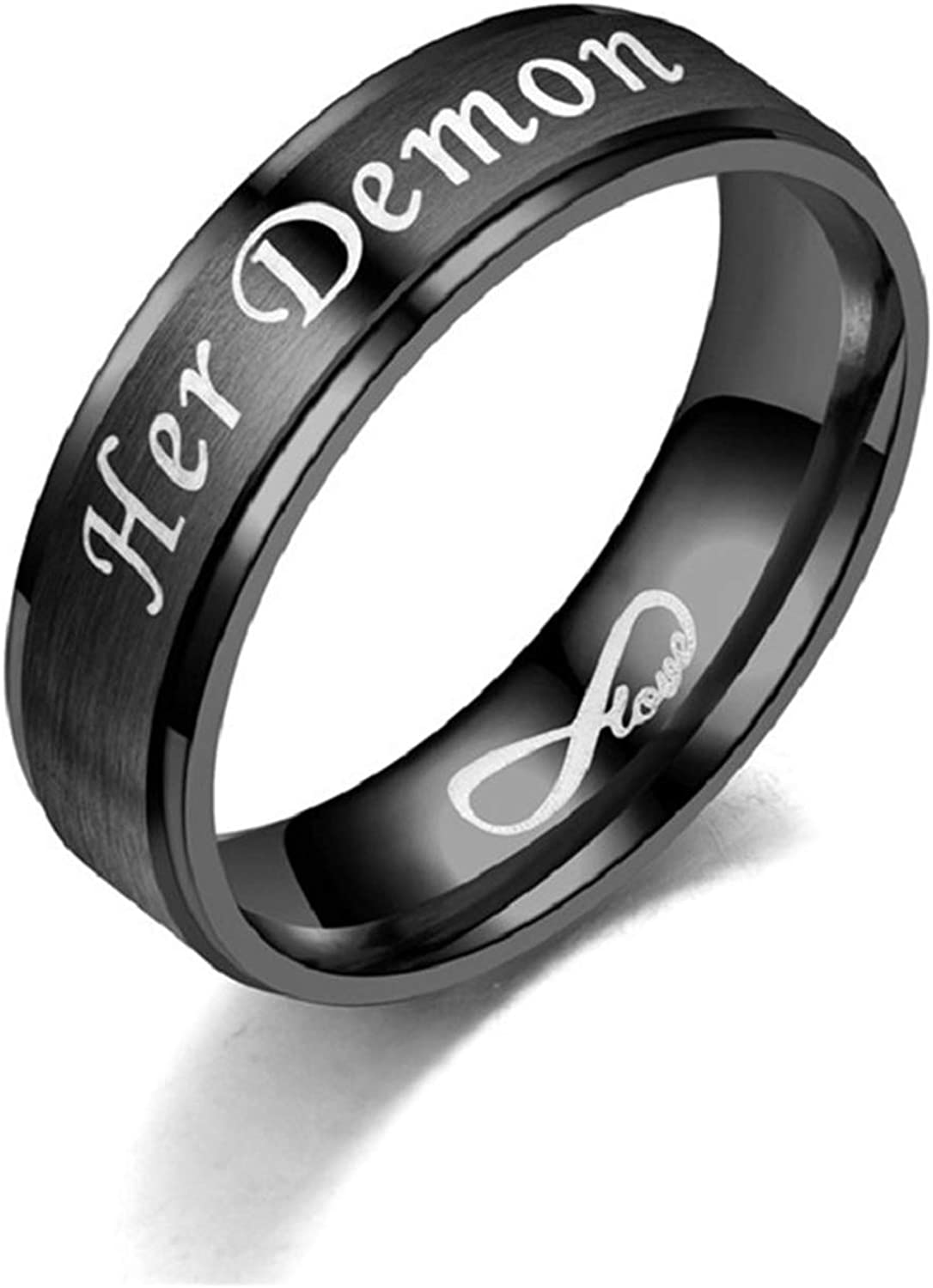 OIDEA His Angel,Her Demon Engraved Stainless Steel Couples Romantic Matching Ring Bands for Promise,Wedding, Size 6 to 12