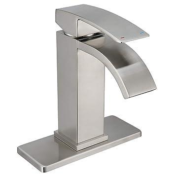 Waterfall Bathroom Faucet Brushed Nickel Doris F005 Single Handle