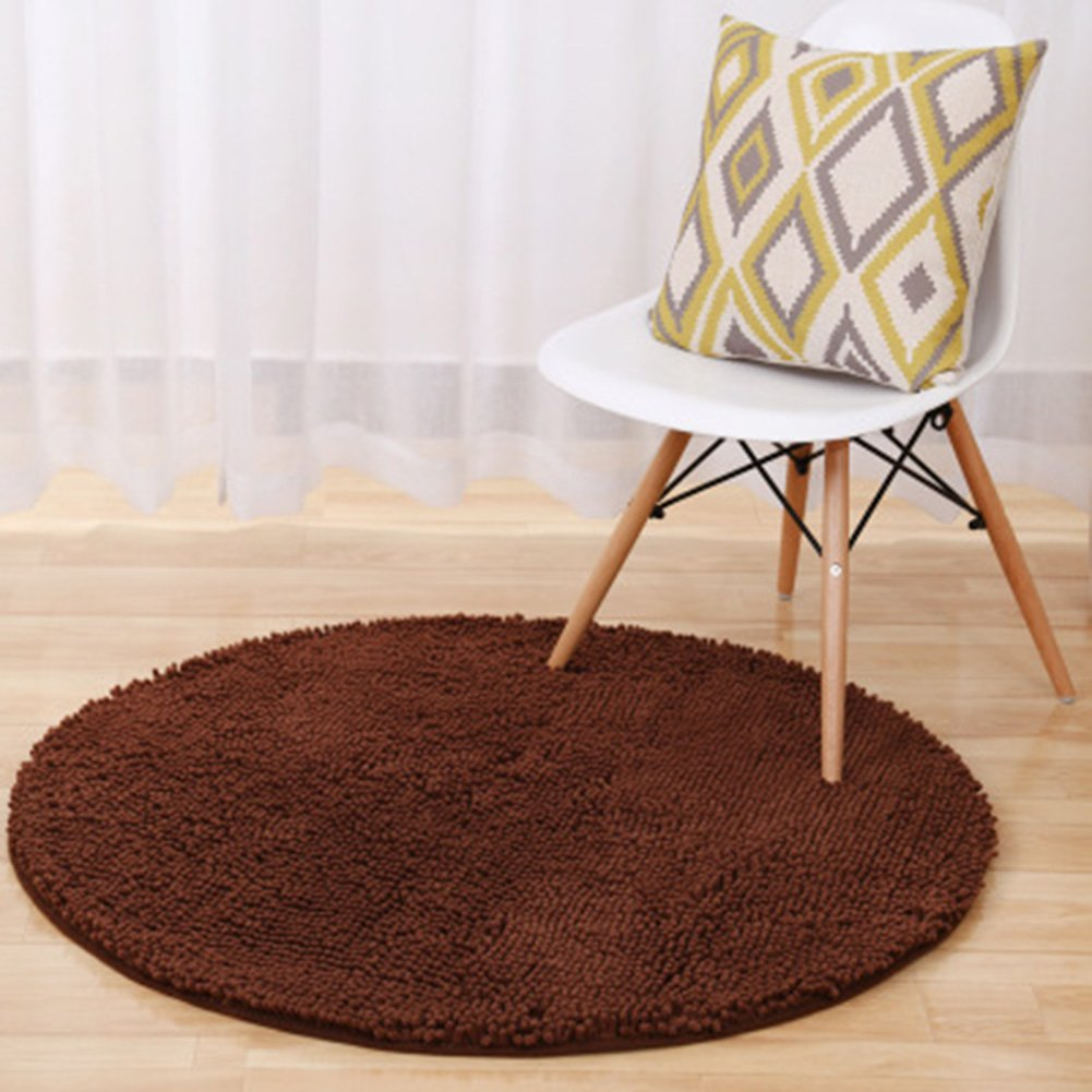 TMJJ Round Shaped Chenille Carpet Computer Chair Yoga Floor Mats Antiskid Bath Mats Home Decoration Living Room Bedroom Area Rugs (Diameter 23.62, Coffee)