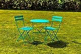 Kingfisher Turquoise Metal Bistro Conservatory/Outdoor Garden Patio Furniture Set