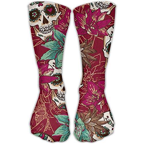 YUANSHAN Socks Flower Skull Women & Men Socks Soccer Sock Sport Tube Stockings Length 11.8Inch