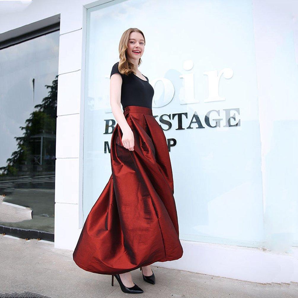 LINNUO Mujeres A-Line Faldas Plisadas de Color S/ólido de Alta Cintura Larga Falda Swing Circle Falda