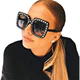 YABINA Womens Fashion Imitation Diamonds Cat Ear Square Classic Vintage Sunglasses