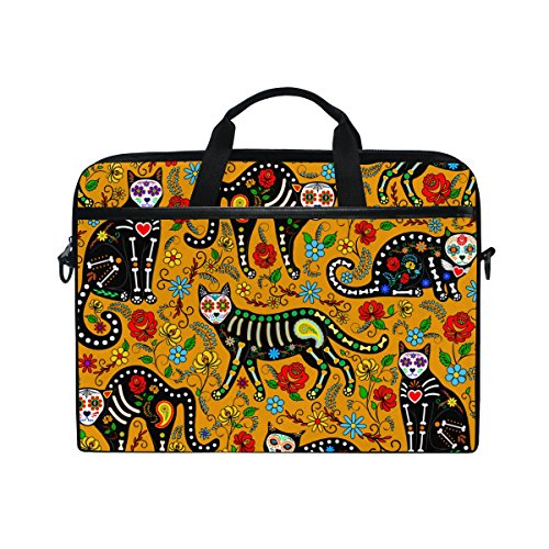 Sugar Skull Dia De Los Muertos 14 Inch Laptop Shoulder Messenger Bag Case Sleeve Briefcase with Handle for Women Men from Franzibla