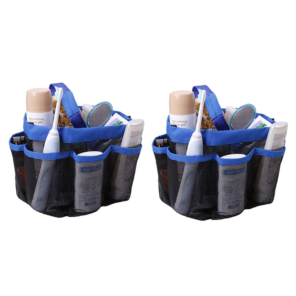 SYOOY 2 PCS Mesh Bath Organizer Quick Dry Hanging Toiletry with 8 Storage Compartments for College Dorms School Sport Gym Camp Blue 9.01'' D x 8.27'' H
