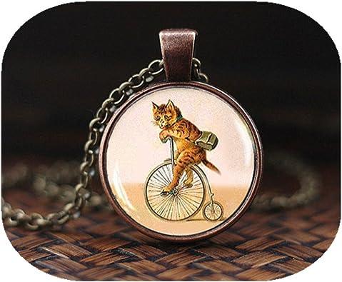 Hanigbibi - Collar con Colgante de Gato en Bicicleta, Estilo Hipster Vintage, para Amantes de los Gatos, Amantes de la Bicicleta, Colgante de Gatito Retro Vintage: Amazon.es: Joyería
