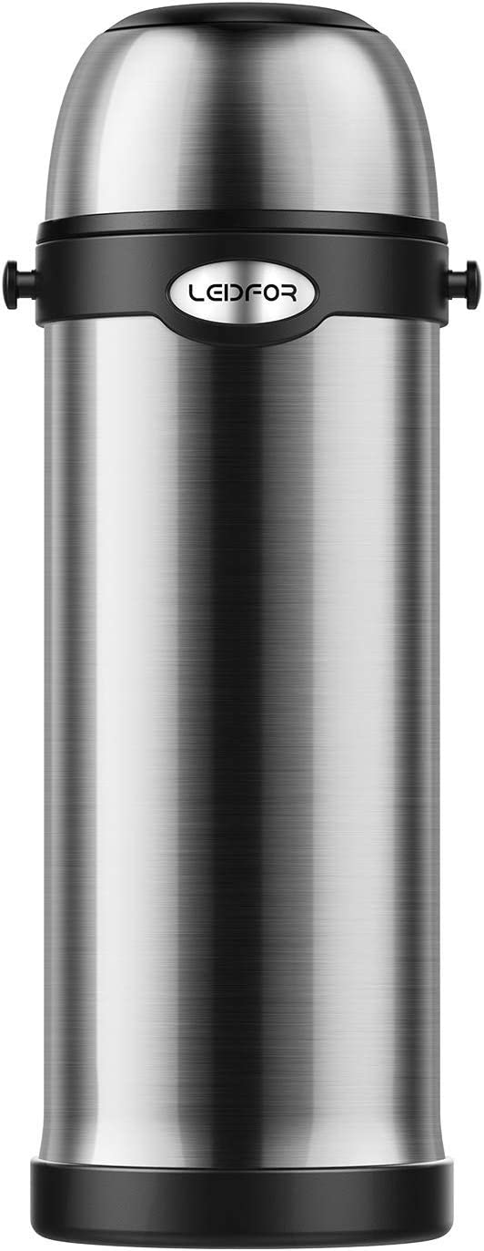 Leidfor Vacuum Bottle Double Wall Vacuum Insulated Traveling Bottle Stainless Steel With Folding Handle, Pour Stopper, Shoulder Strap 61-Ounce