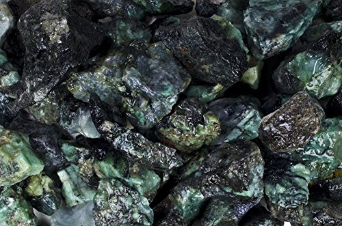 Fantasia Materials: 3 lbs High Grade Emerald Rough - Raw Natural Crystals for Cabbing, Cutting, Lapidary, Tumbling, Polishing, Wire Wrapping, Wicca and Reiki Crystal HealingWholesale Lot