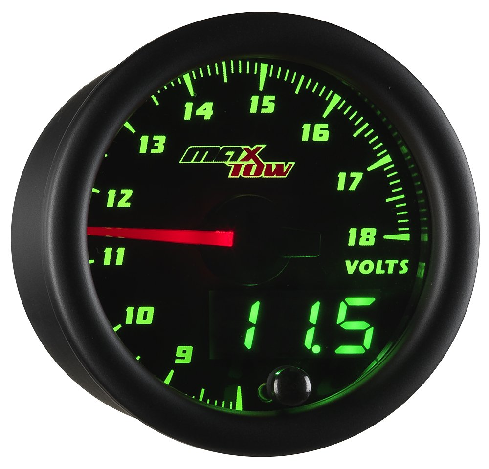 "MaxTow Double Vision Volt Voltmeter Gauge - Voltage Range 8-18 Volts - Black Gauge Face - Green LED Illuminated Dial - Analog & Digital Readouts - for Trucks - 2-1/16"" 52mm"