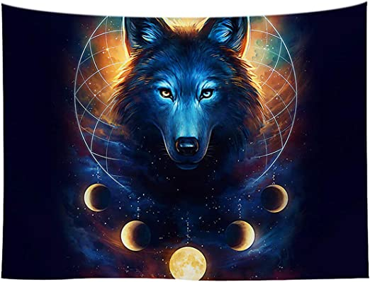 LOUHO Ice and fire Wolf Tapestry Wall Hanging for Living Room Bedroom Indian Hippie Hippy Tapestries Psychedelic 79x 59, Ice and fire