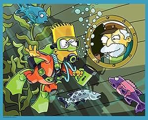 MB 7037 Los Simpson - Puzzle con diseño de Bart buceando (100 piezas)