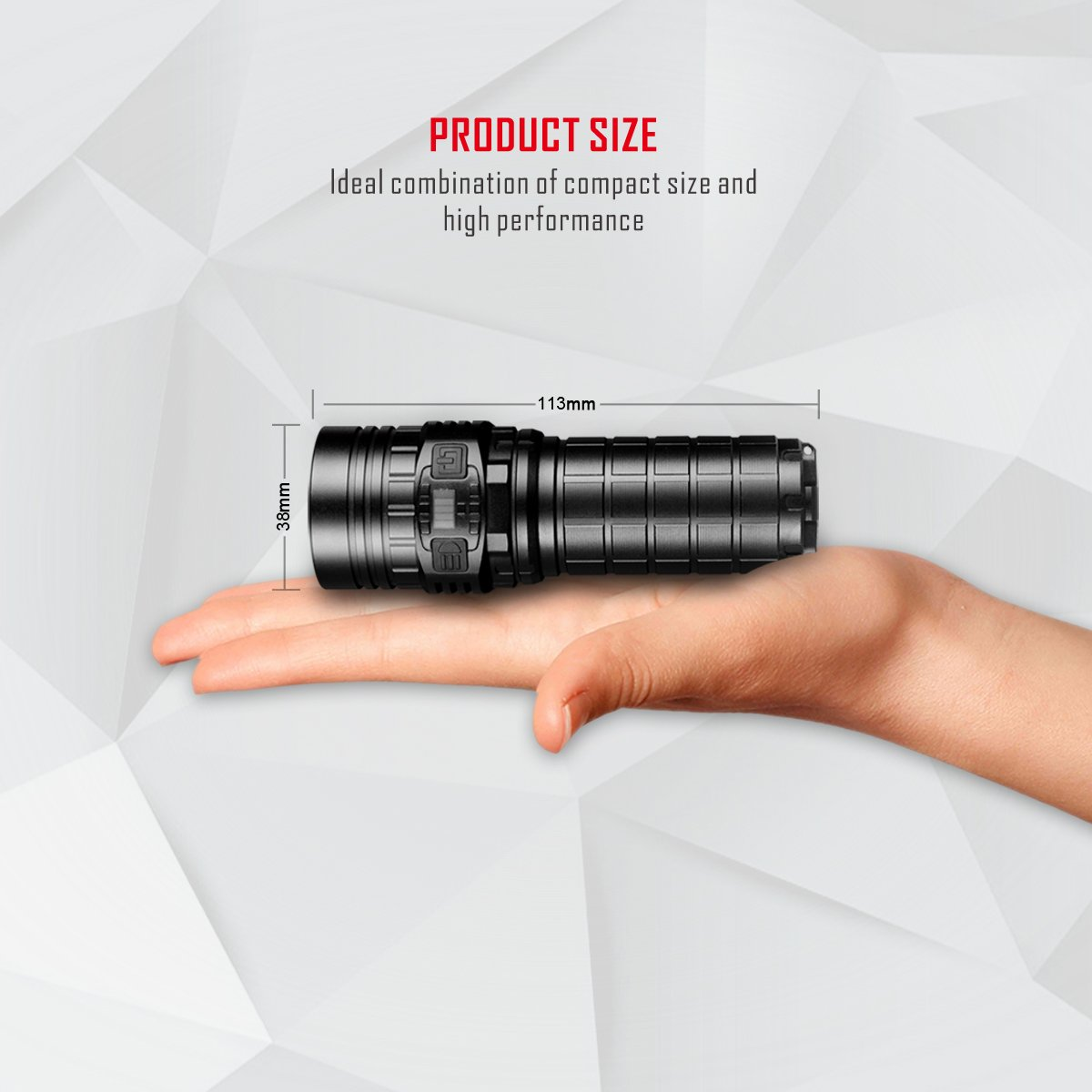 Imalent new DN70 USB rechargeable palm-sized LED flashlight 3800lumens searching light portable floody flashlight with CREE XHP70 LED by IMALENT (Image #6)