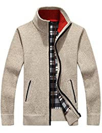 Casual Stand Collar Fleece Lined Full Zip Knit Cardigan Sweater
