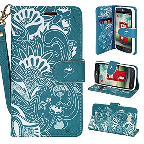 LG OPTIMUS L70 Case, Magnetic Closure Leather Flip Wallet Case with 2 Card Slots, Cash Compartment and Wrist Strap for Optimus Exceed 2 W7/ LS620 Realm/ L41C Ultimate 2 Wallet Case (Teal (Lg L41c Phone Case Wallet)