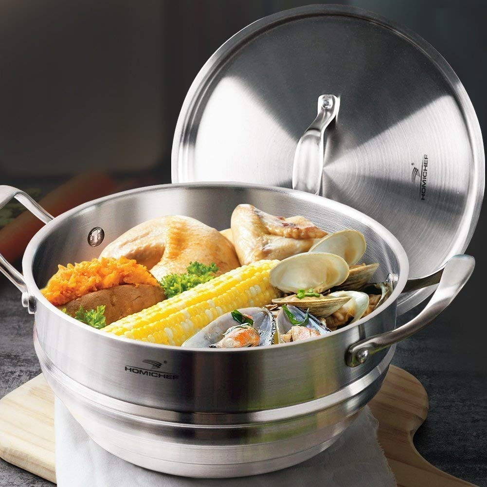 HOMI CHEF 5QT 9.5'' WHOLE FOOD Steamer Insert with Lid (3 Ridges for 8''/ 9''/ 9.5'' Pots, 4.5'' Deep, Nickel Free Stainless Steel) / Universal Steamer Inserts for Pots/Vegetable Steamer Insert for Pot