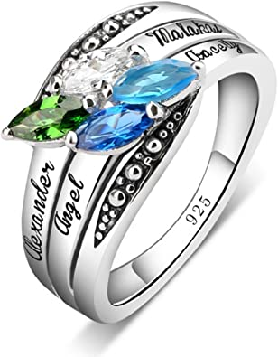 Quiges 925 Sterling Silver Mothers Birthstone Custom Personalized Engraved Name Art Ring