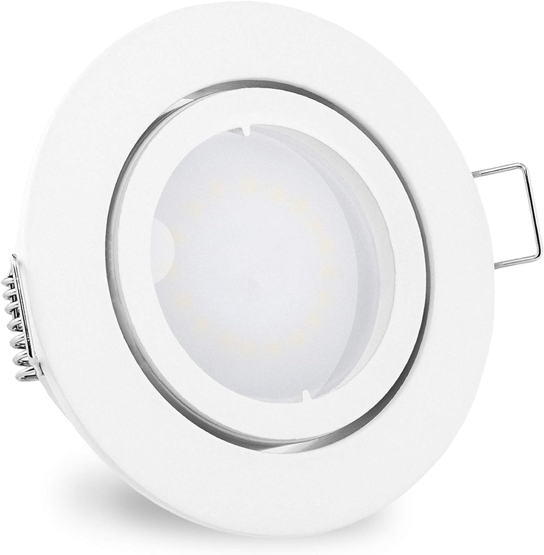 10 Stück linovum® fourSTEP Einbauspots LED schwenkbar dimmbar ohne Dimmer - LED GU10 5W warmweiß - Einbaustrahler weiß rund 10er-set - Weiß Lackiert