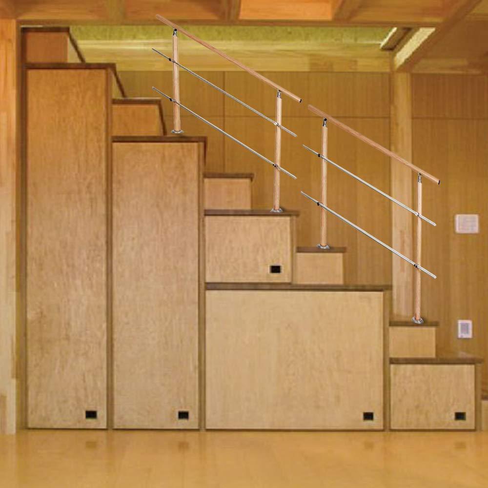 f/ür Treppen Br/üstung Balkon 100 cm 2 Querstreben Aufun Aluminium Treppengel/änder Gel/änder mit Edelstahl Querstange Leichte Holzmaserung